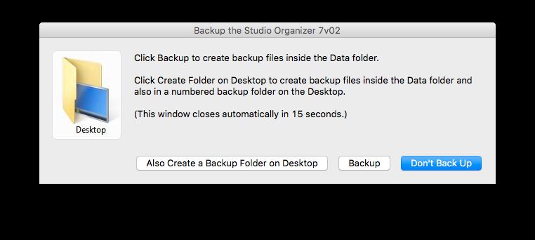 Backup Dialog box